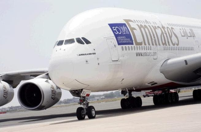 The Airbus A380 just landing in Rome's Leonardo da Vinci airport