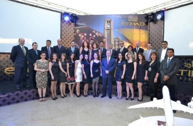 James Hogan Etihad Airways' President and CEO with Etihad Airways Beirut staff with Khaled Al Mehairbi, Senior Vice President Aeoropolitical and Governmental Affairs