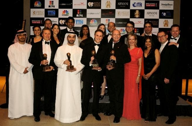 Etihad executives and staff collect the airline's four awards