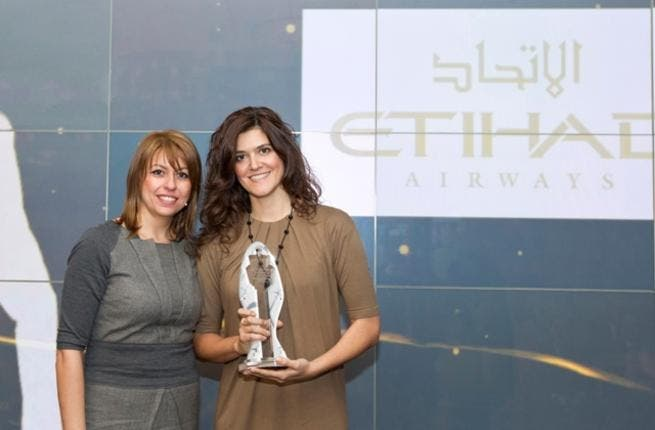 Katerina Polatou, Head of Airline Marketing at Athens International Airport and Ms Noni Papastefanou, Etihad Airways Greece Senior Sales Executive