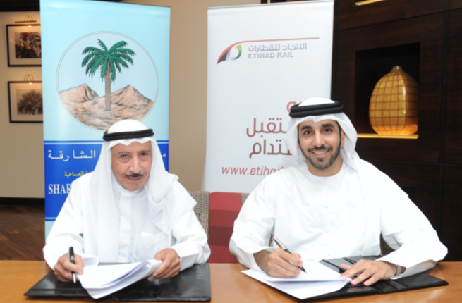 Etihad Rail MoU signing with Sharjah Cement Factory