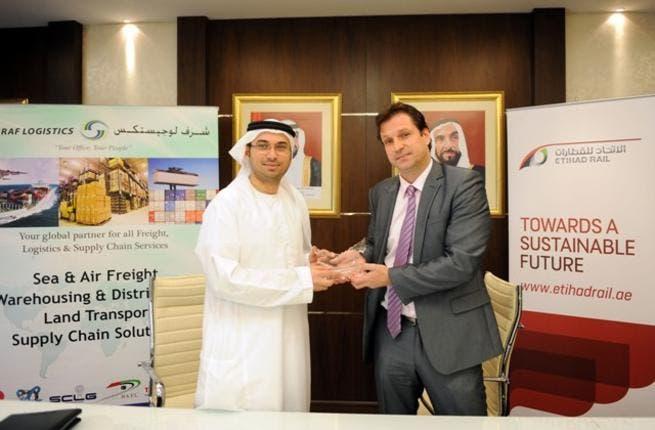Etihad Rail and Sharaf Logistics MoU signing