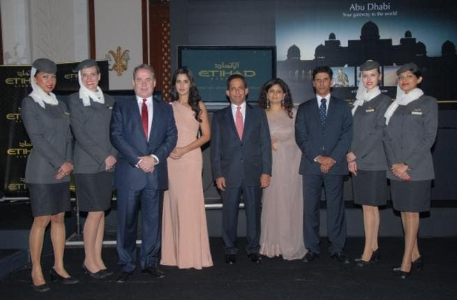 Etihad Chief Executive Officer, James Hogan with Bollywood actress and Etihad Brand ambassador, Katrina Kaif during a cocktail reception held for trade partners and corporate guests at the Imperial Hotel in New Delhi