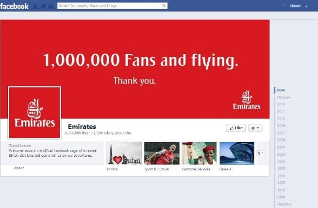 Emirates reaches one million Facebook fans globally