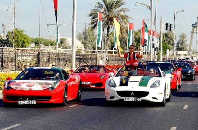 Cars were decorated with UAE flag colours and the slogan of the celebrations