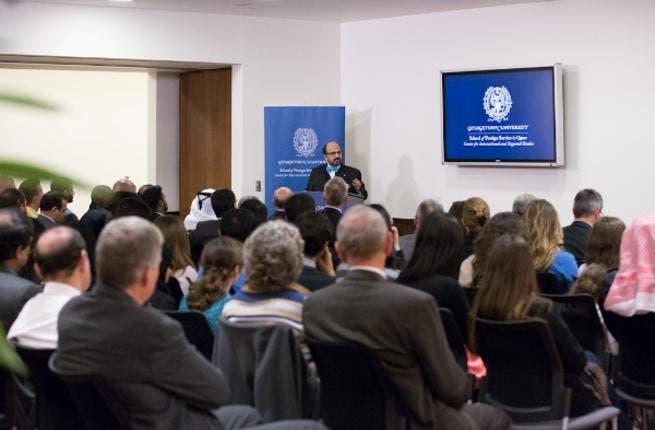 Dr. Seetharaman, Group CEO of Doha Bank at the lecture