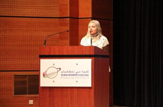 Ghada Abdel Aal addressing the audience