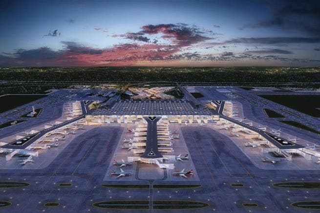Spread over an area of over 76 million square meters (818 square feet), the first phase of the airport will serve 90 million passengers. (Anadolu Agency)
