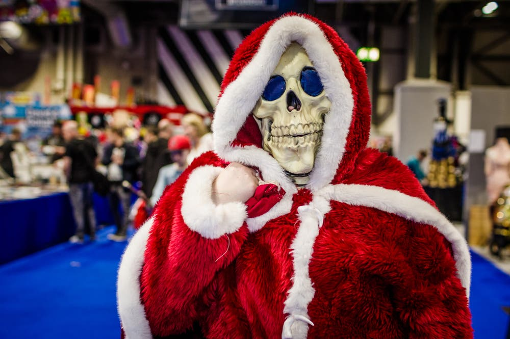 Cosplayer dressed as a skeleton wearing a Santa outfit (Shutterstock/File Photo)
