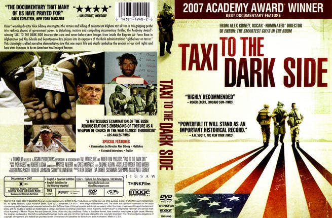 Taxi to the dark side: Afghan taxi driver Dilawar was in the wrong place at the wrong time and wound up being one of many Afghans beaten to death by U.S. soldiers at the notorious Bagram prison. This 2007 doc examines America and the CIA's shocking policies on torture and interrogation in the Middle East via a series of telling interviews.