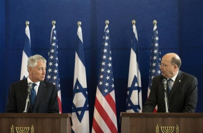 US Defense Secretary Chuck Hagel listens to Israeli Minister of Defence Moshe Yaalon (R) speaking during a joint press conference following a meeting at the Ministry of Defence on April 22, 2013 in Tel Aviv, Israel. (Photo: AFP)