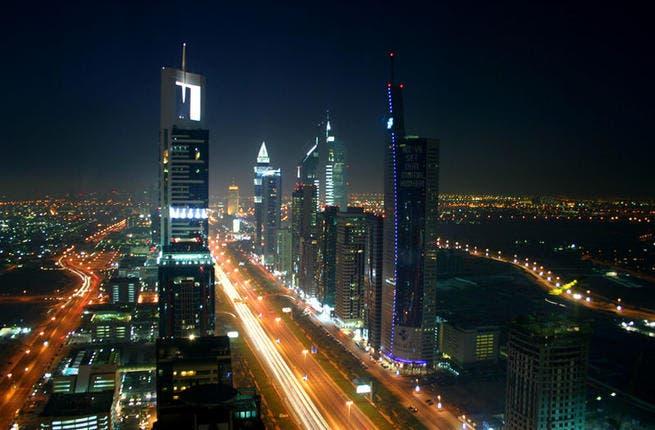 Dubai night skyline (Source: Wikimedia Commons)