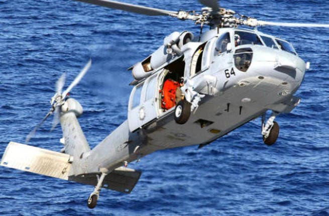 The MH-60S Knighthawk crashed Sunday into the Red Sea (Courtesy of AP Graphics)