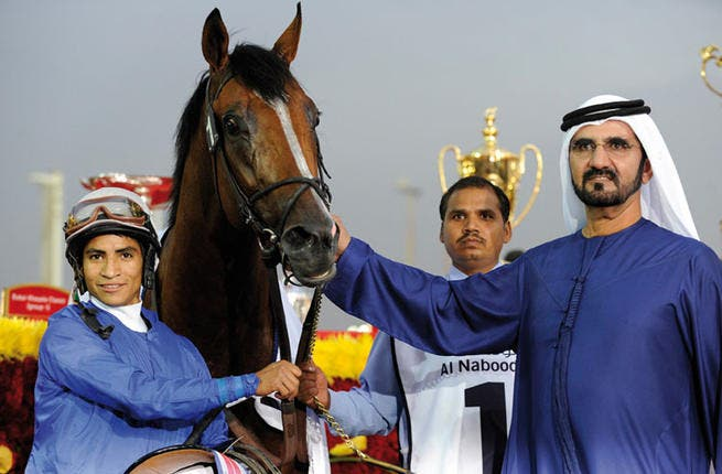 Sheikh Mohammed at the horse races (Image source: alshindagah.com)