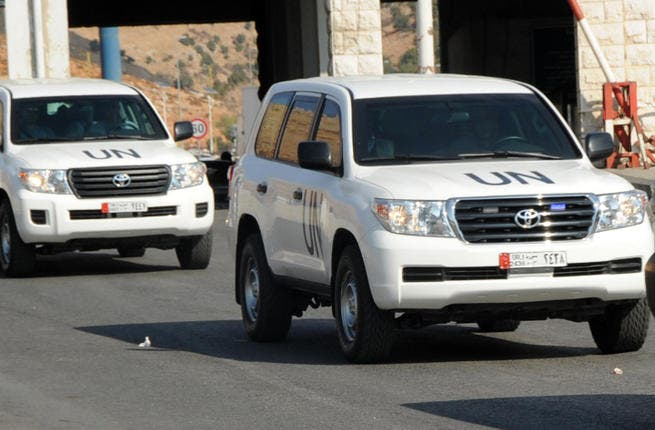 A convoy of United Nations vehicles carrying a team of UN experts investigating the alleged use of chemical weapons in Syria. Earlier today, Germany admitted to exporting 360 tons of dual-use chemicals to Syria. (Image credit: AFP)