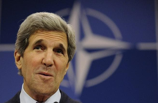 US Secretary of State John Kerry speaks after meeting with NATO Foreign Affairs ministers in Brussels(John Thys/ AFP)