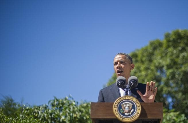 UNITED STATES, Chilmark : US President Barack Obama makes a statement on Egypt August 15, 2013, in Chilmark, Massachusetts. AFP PHOTO/Jim WATSON