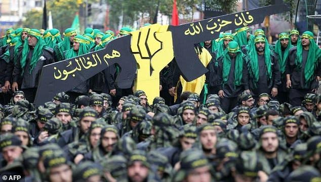 Hezbollah members are seen during Ashura commemorations in southern Beirut in October. (AFP/ File)
