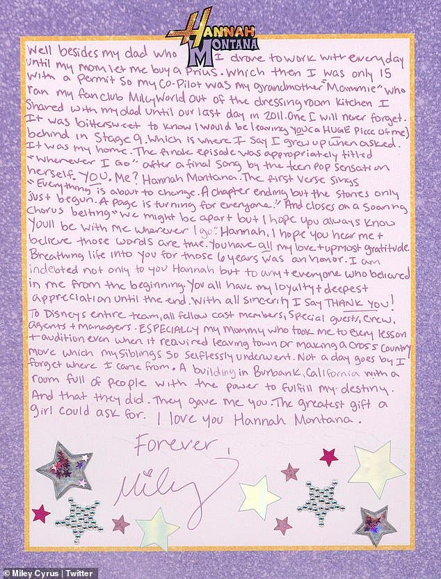 Miley Cyrus Pens Note To Hannah Montana on 15th Anniversary of Show