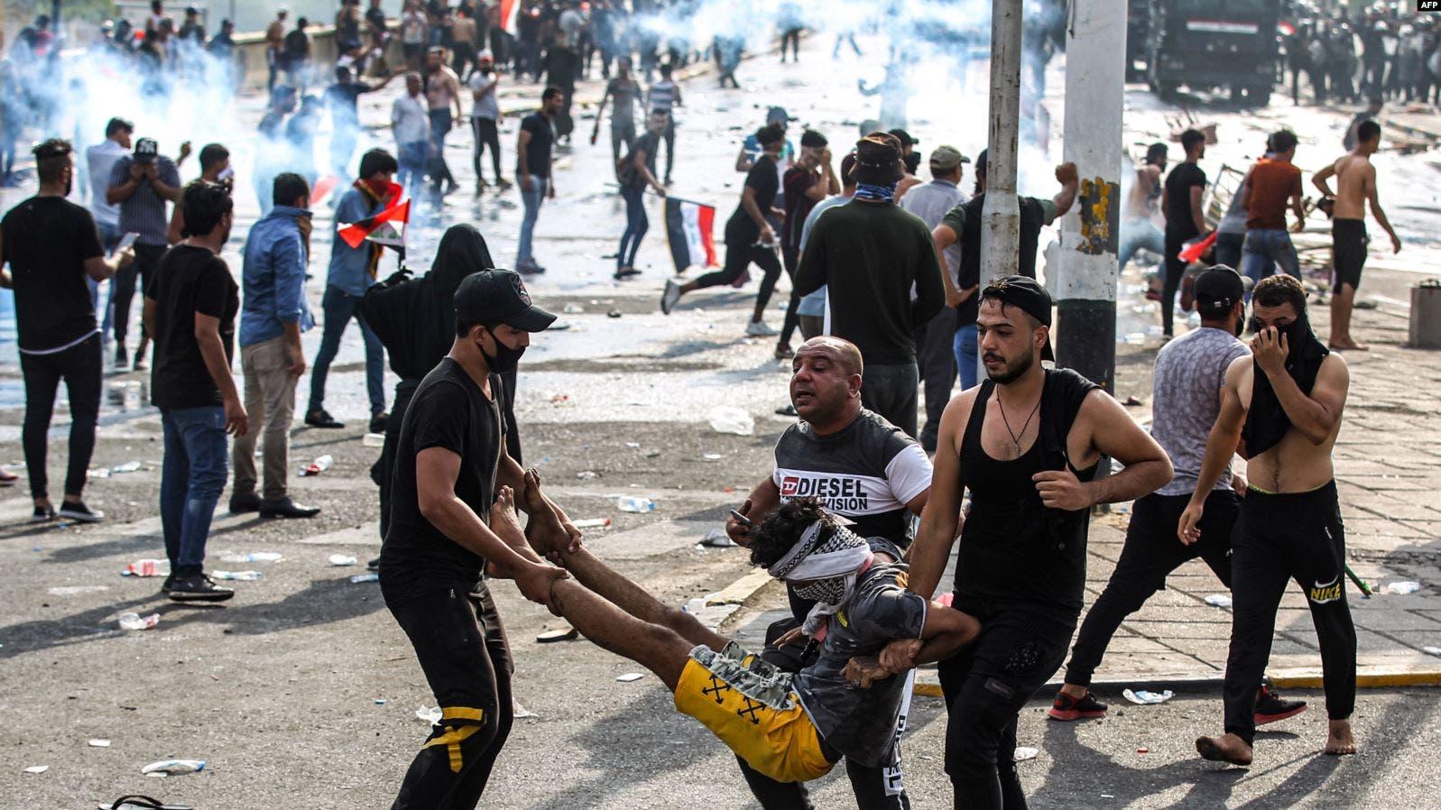 مقتل 9 متظاهرين وإصابة 135في بغداد ومحافظات خلال 5 أيام