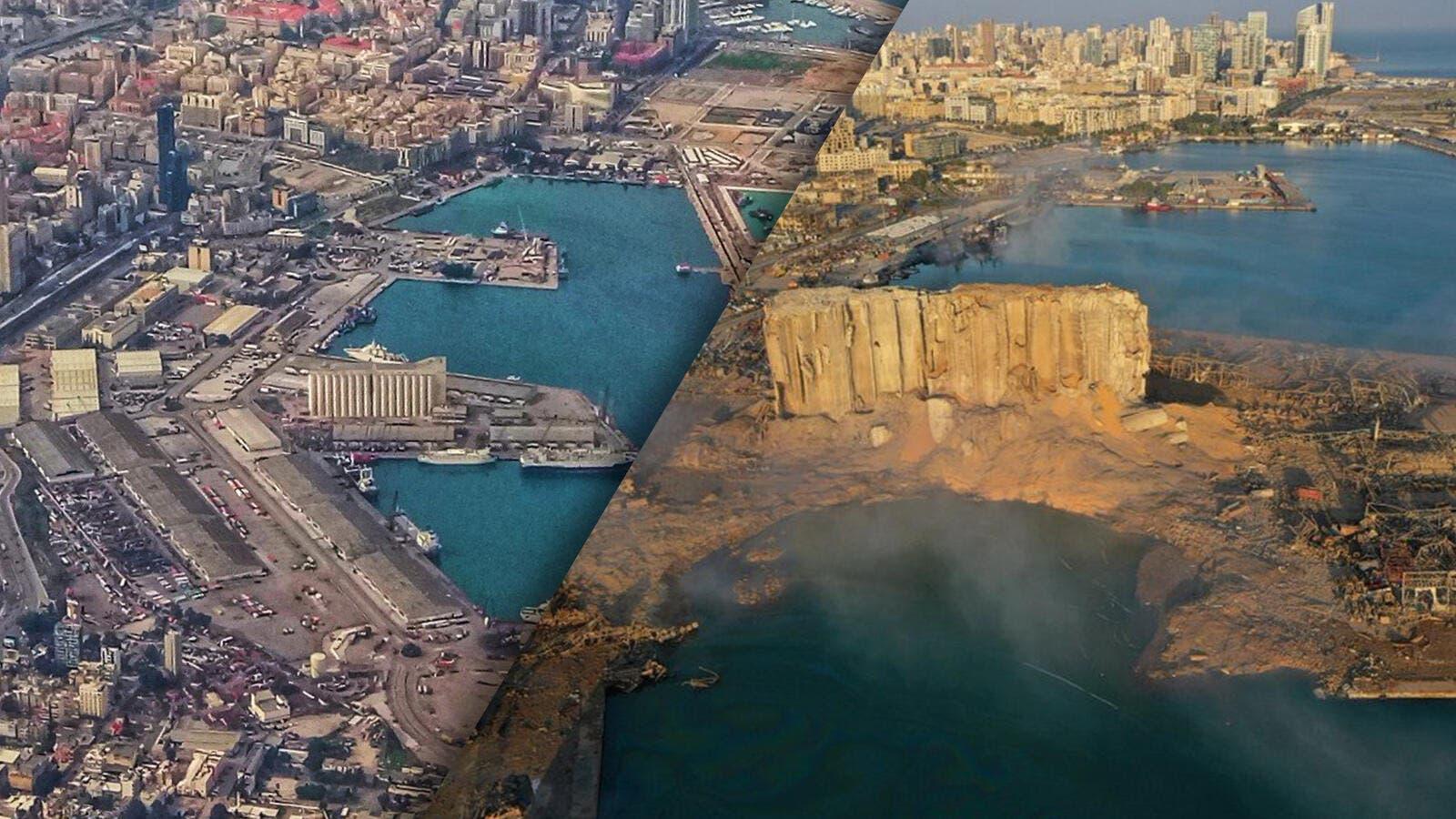 """انفجار لبنان """"المدينة المنكوبة""""... قبل وبعد!"""