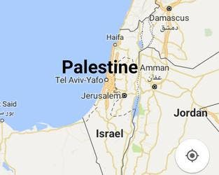 Image shared by Palestinian activists in protest of Google's policies against Palestinians in not labeling it on the map. (Socialmedia)