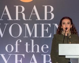 Hind Aleryani at the Arab Women of the Year awards in London. (Twitter/@HindAleryani)