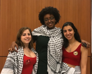 The resolution's co-authors (From L): Rose Asaf, Bayan Abubakr, and Leen Dweik. (Blair Huang/NYULocal)