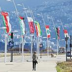 Flags of the Arab league states are seen on display ahead of the Arab Economic and Social Development Summit in Beirut (AFP)