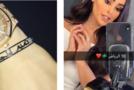 Kuwaiti blogger (left) faces backlash in Saudi Arabia after posting a photo (right) for her bracelet that praises the Qatari Emir. (Socialmedia)