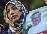 Nobel Peace Prize laureate Yemeni Tawakkol Karman holds a picture of missing journalist Jamal Khashoggi (AFP)