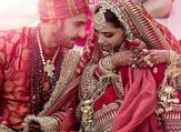 Ranveer and Deepika kept the media out of the wedding and shared just two pictures (seen) with their fans on Twitter (AFP)