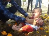 Crying children are placed in cow dung (Twitter)