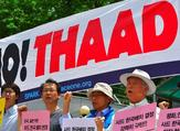 Activists protest against the deployment of the US-built Thaad anti-missile system outside the Defense Ministry in Seoul. (AFP/ File Photo)
