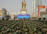 الشرطة العسكرية الصينية تشارك في تجمع ضد الارهاب في هوتان شمال غرب منطقة شينجيانغ يوغور