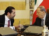 Lebanese President Michel Aoun, right, and Prime Minister-designate Saad Hariri at the presidential palace. AFP