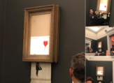 Photos taken from the auction for the moment when the painting self-destruct leaving people in shred. (Socialmedia)