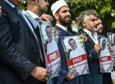 Photos of missing journalist Jamal Khashoggi during a demonstration in front of the Saudi Consulate in Istanbul. (AFP/File)