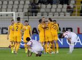 Australia celebrate their 3-2 win in the 2019 AFC Asian Cup group B football match between Australia and Syria at the Khalifa bin Zayed stadium in al-Ain on January 15, 2019. Karim Sahib / AFP