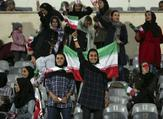 Iranian women cheer during the friendly football match between Iran and Bolivia at the Azadi Stadium in Tehran on October 16, 2018.