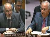 السفيران في الأمم المتحدة السعودي عبد الله المعلمي ونظيره السوري بشار الجعفري الرد