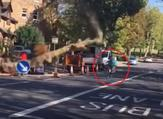 The moment a cyclist narrowly misses being crushed to death by a falling tree on a South London road. (YouTube)