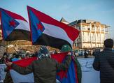 Protesters holding South Yemen flags demand independence for the region during a protest. (AFP/File)