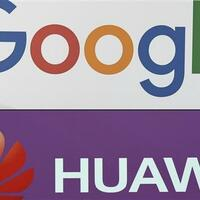 This combination of file pictures created on May 19, 2019 shows the logo of the US multinational technology company Google and the logo of Chinese electronics firm Huawei. (AFP photo)