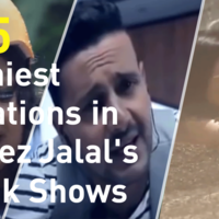 Comedy in Ramez Jalal's shows varies between sarcastic comments on guests, friendly reactions from his fellow celebrities, or violent reactions that Ramez Jalal receives from them