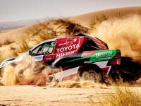 Saudi ace Yazeed Al-Rajhi in a Toyota Hilux in action during the Rally of Morocco where he finished fifth overall last week. (Photo/Supplied)