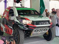 Yazeed Al-Rajhi at the start of the Rally Qassim 2019 on Thursday. Al-Rajhi leads the event after the super special stage. (Photo/Supplied)