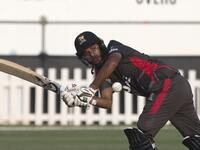 The UAE's Chirag Suri plays a shot during the match against Jersey at the Zayed Cricket Stadium. (Photo by Ryan Lim)
