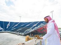 Prince Abdulaziz, seen visiting the Diriyah Arena, said 'we are keen to develop tennis in the Kingdom.' (Supplied)