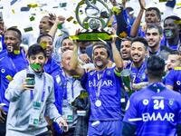 Al Hilal players celebrate winning the Asian Champions League last month. (Photo: SPA)